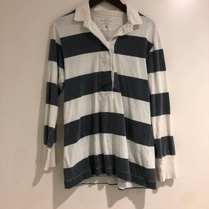 JCREW Sun washed jersey collard shirt navy/white